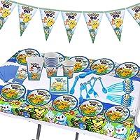 Nesloonp Suministros Vajilla de Fiesta Set,Juego Vajilla Fiesta Cumpleaños,Artículos para Fiestas para Niños,Pikachu…