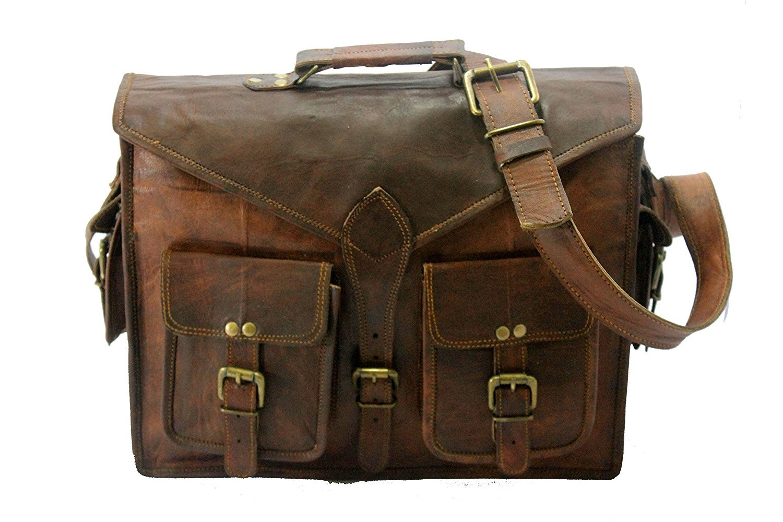 Handmade World Genuine Messenger Bag Leather Laptop Bags Computer Satchel Briefcase (18 Inch) by Handmade World (Image #3)