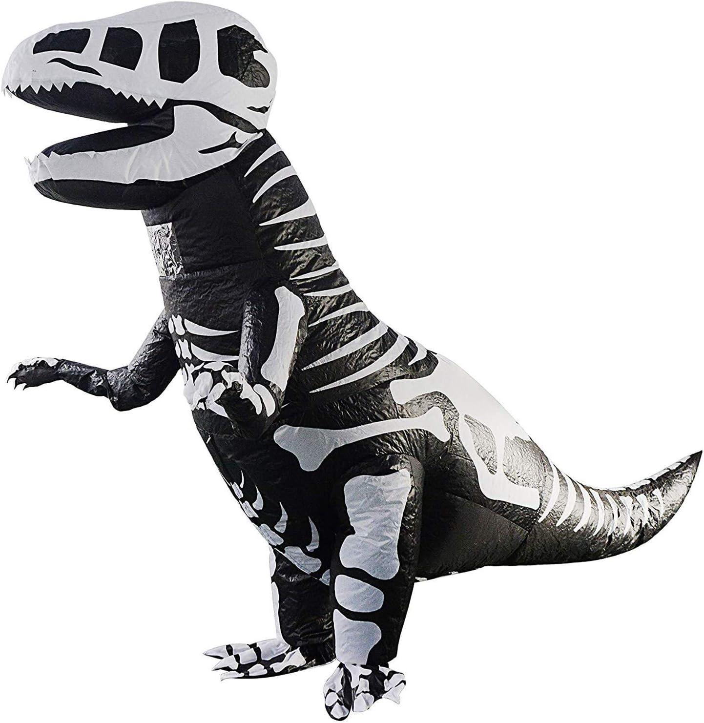 WOVELOT Disfraz de Dinosaurio Inflable de Esqueleto Gigante T-Rex Blow Up Dino Costume Adult