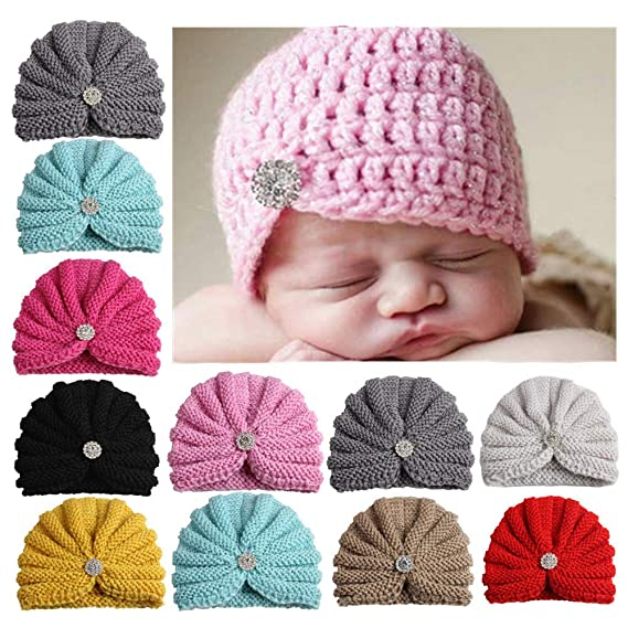 Amazon.com: Outtop(TM) Baby Knitted Headbands Toddler Infant Girl&Boy Winter Warm Solid Knit Beanie Hat Crochet Ski Ball Cap (0-36 Months, Beige): Clothing