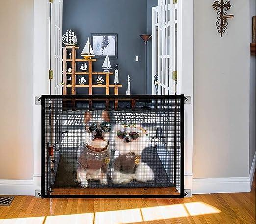 Magic Gate - Barrera de Seguridad Plegable Portátil Protector Seguro, Malla de Aislamiento, Portones de Seguridad para Niños, Instalar Escaleras /Interior/Exterior: Amazon.es: Productos para mascotas