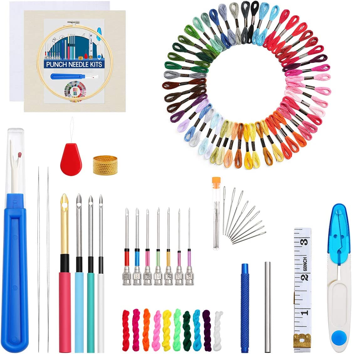 Punch Needle Set Looen 93pcs Punch Needle Embroidery Kit with Embroidery Tools and Instructions Needle Punch Kits for Beginners