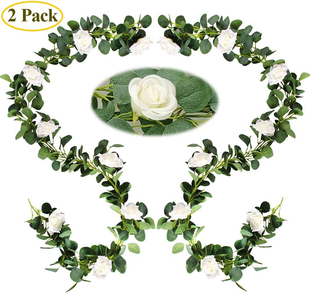 Eucalyptus Garland Eucalyptus Leaves Leaf Garland Vines, 6.56 Ft 2 Packs with 16 White Roses for Wedding Decorations Indoor and Outdoor Party Decoration Greenery Garland for Various Occasions Decor.