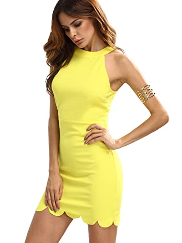 Floerns Women's Halter Sleeveless Sexy Bodycon Mini Dress