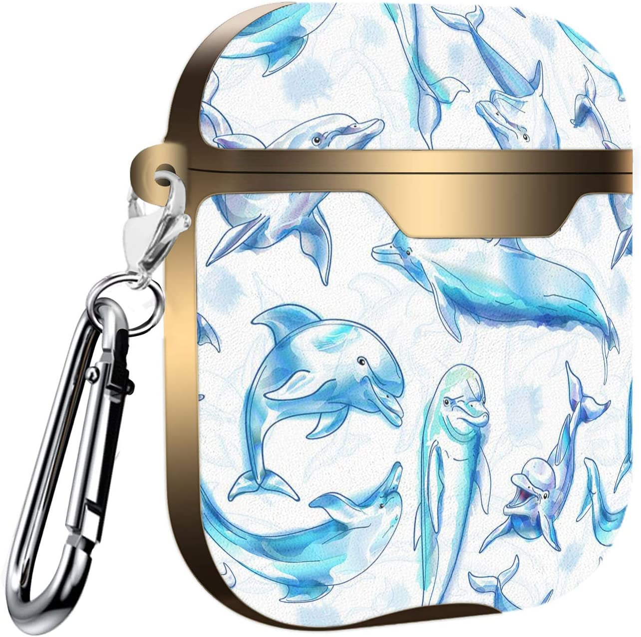 Watercolor Dolphin Pattern Slim Form Fitted Printing Pattern Cover Case with Carabiner Compatible with Airpods 1 and AirPods 2