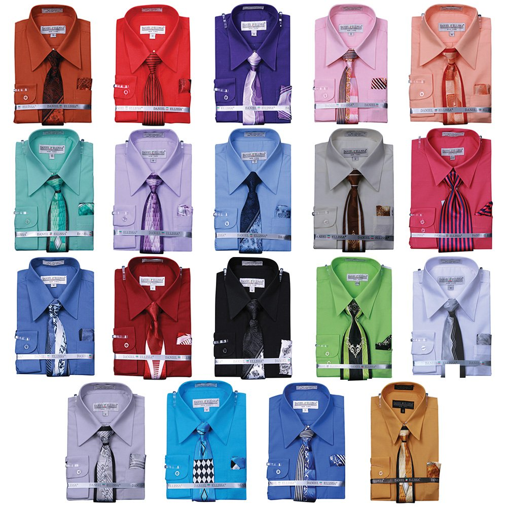 Sunrise Outlet Boy's Basic Dress Shirt with Tie and Hanky Set NTP-B1P2