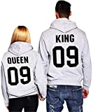 Minetom Loisirs Femme Homme Sweatshirt Sweat à Capuche Couple CLYDE & BONNIE 03 Impression QUEEN & KING 09 Col Rond Hoodies Sport Hooded Sweat-shirt Pull