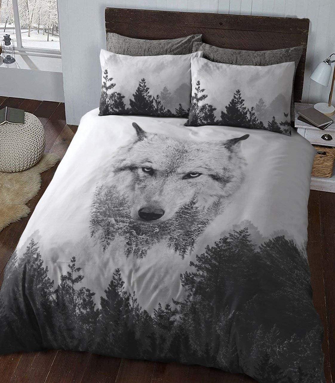Juego de Cama Doble Sleep Down, algodón, Panel de Lobo