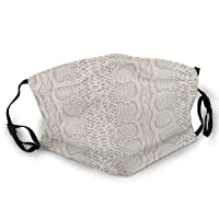 Snakeskin Snakeprint Pattern White Yellow Unisex Reusable Face Mask Outdoor Dust Cloth Mouth Mask