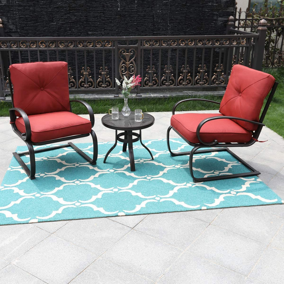 PHI VILLA Patio Set 3 Piece Outdoor Springs Bistro Chairs and Round Table Outdoor Furniture Set with Red Cushioned Seats