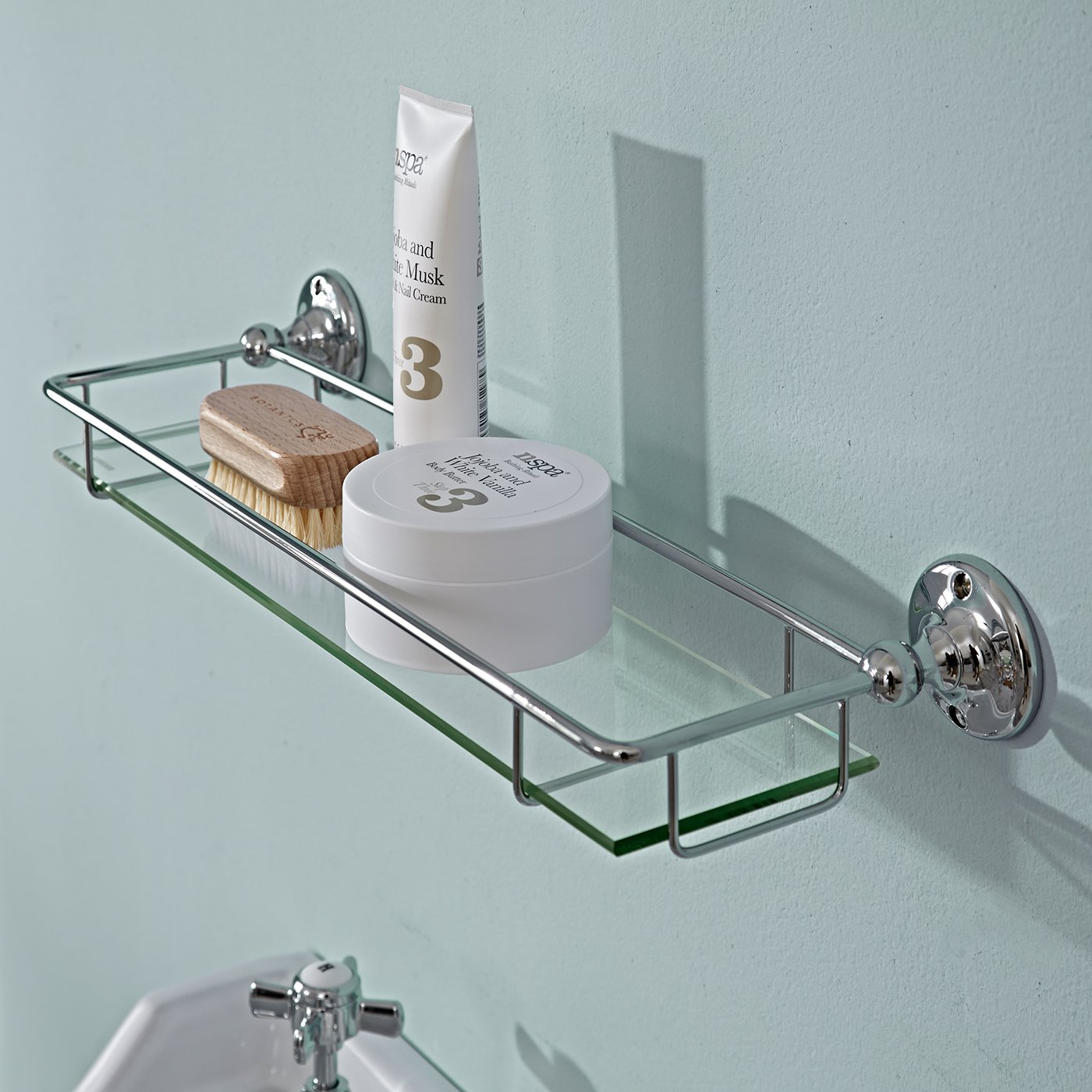Milano Modern Thick Glass Gallery Bathroom Storage Shelf Chrome ...