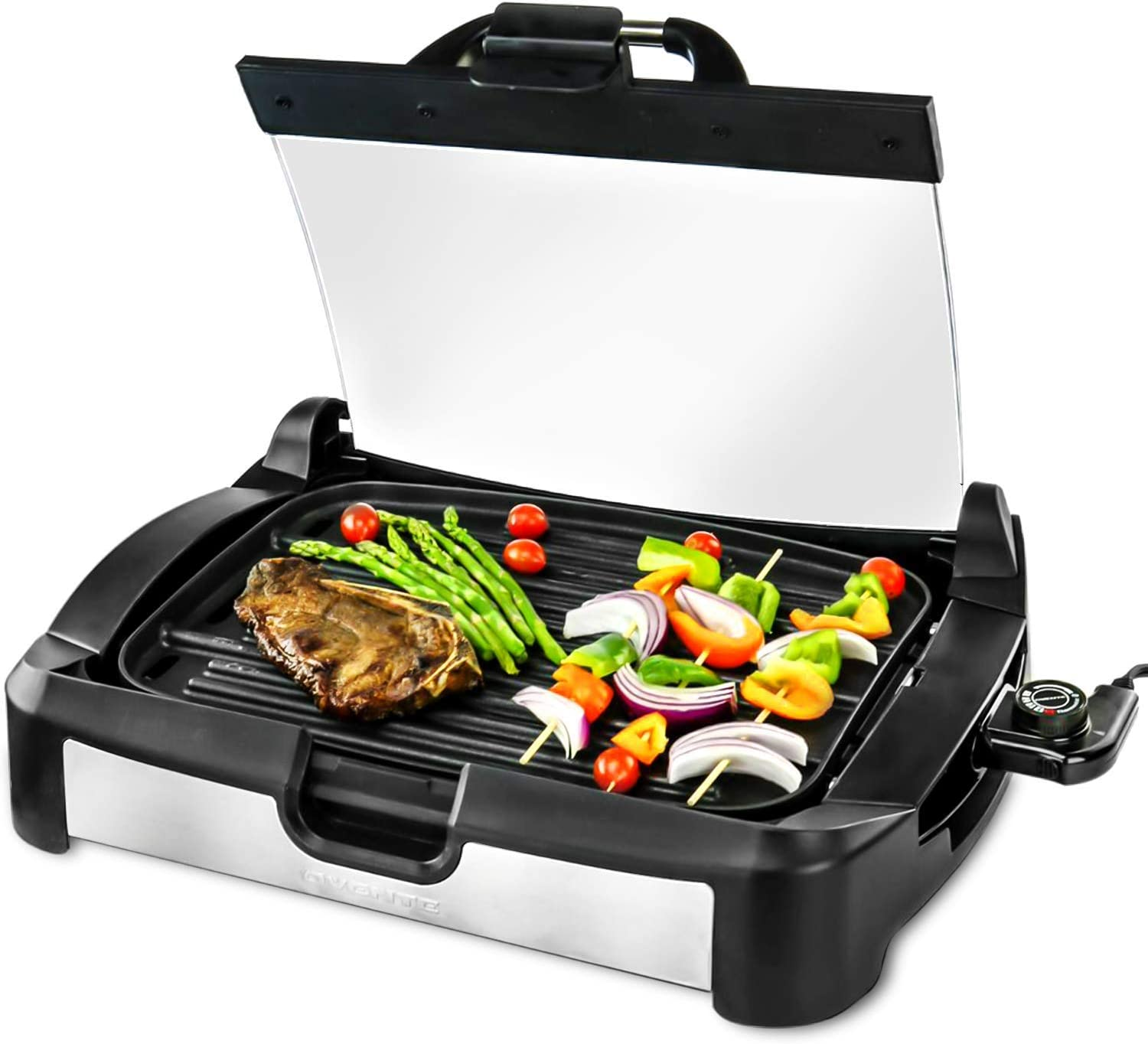 OVENTE GR2001B Electric Grill, 1700W, Reversible Grill Griddle, Heat-Tempered Glass Lid, Free Scraper, Removable Temperature Control Knob, Drip Tray, Black