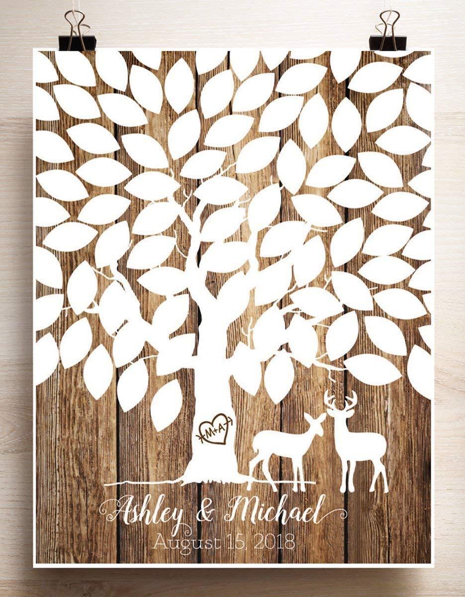 Wedding Tree Guest book Alternative thumbprint Deer Couple Rustic Wood look Paper Print 70 Guests