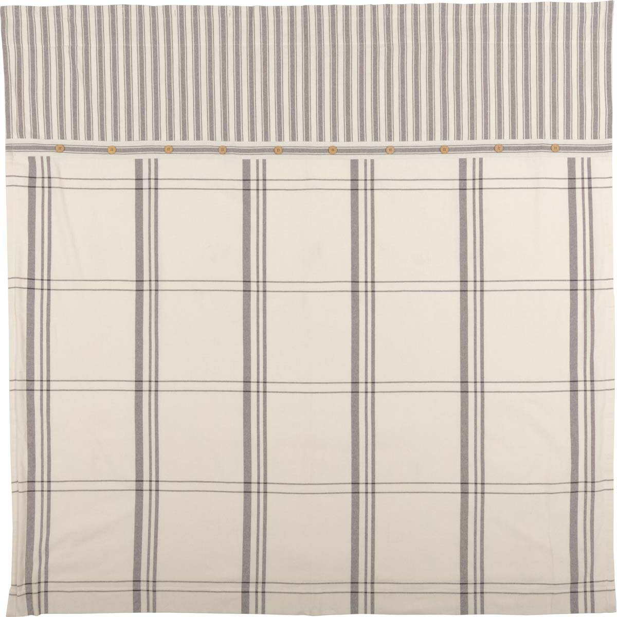 Piper Classics Market Place Shower Curtain, 72'' x 72'', Ticking Stripe w/Grey & Cream Plaid by Piper Classics (Image #2)