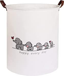CLOCOR Collapsible Round Storage Bin/Large Storage Basket/Clothes Laundry Hamper/Toy Storage Bin (Queue Elephant)