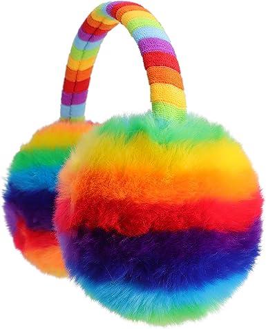 Amazon.com: Flammi Kids Winter Earmuffs Warm Faux Fur Ear Warmers (Rainbow,  Furry): Clothing