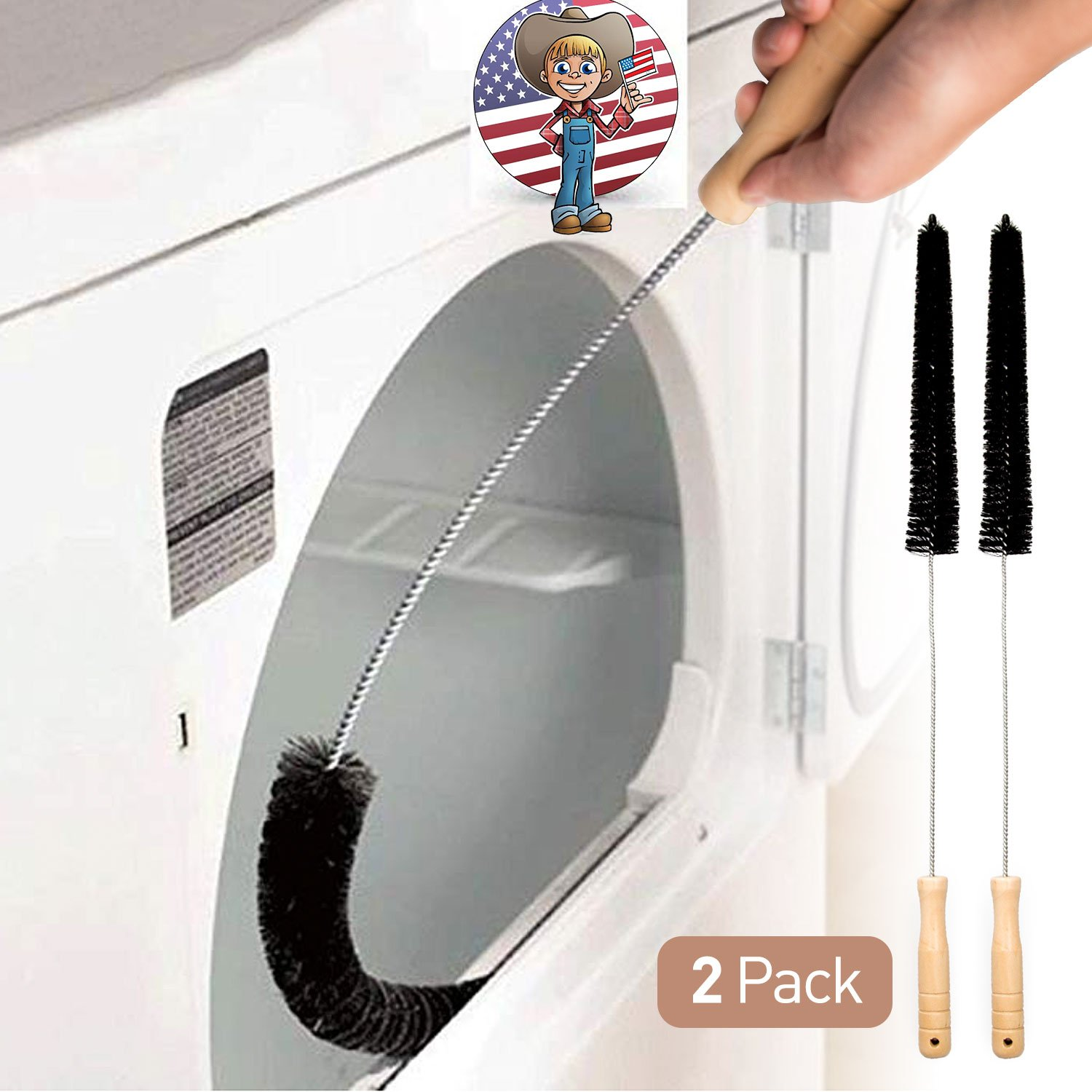 2 Pack Dryer Vent Cleaner Kit Dryer Lint Brush Vent Trap Cleaner Long Flexible Refrigerator Coil Brush Holikme