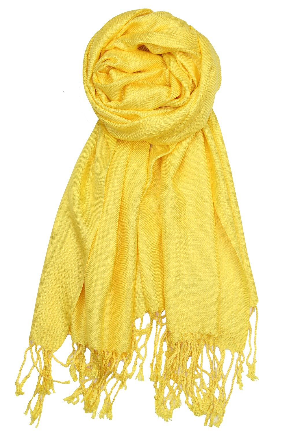 Achillea Large Soft Silky Pashmina Shawl Wrap Scarf in Solid Colors (Yellow)