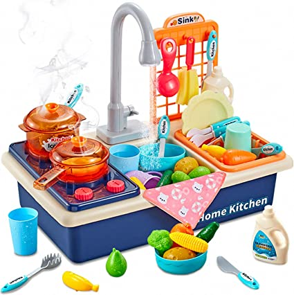 Amazon Com Arkmiido Play Kitchen Sink Toys With Running Water Play Cooking Stove Play House Wash Up Kitchen Sets With Realistic Light Play Dishes Accessories For Toddlers Boys Girls Blue Toys Games