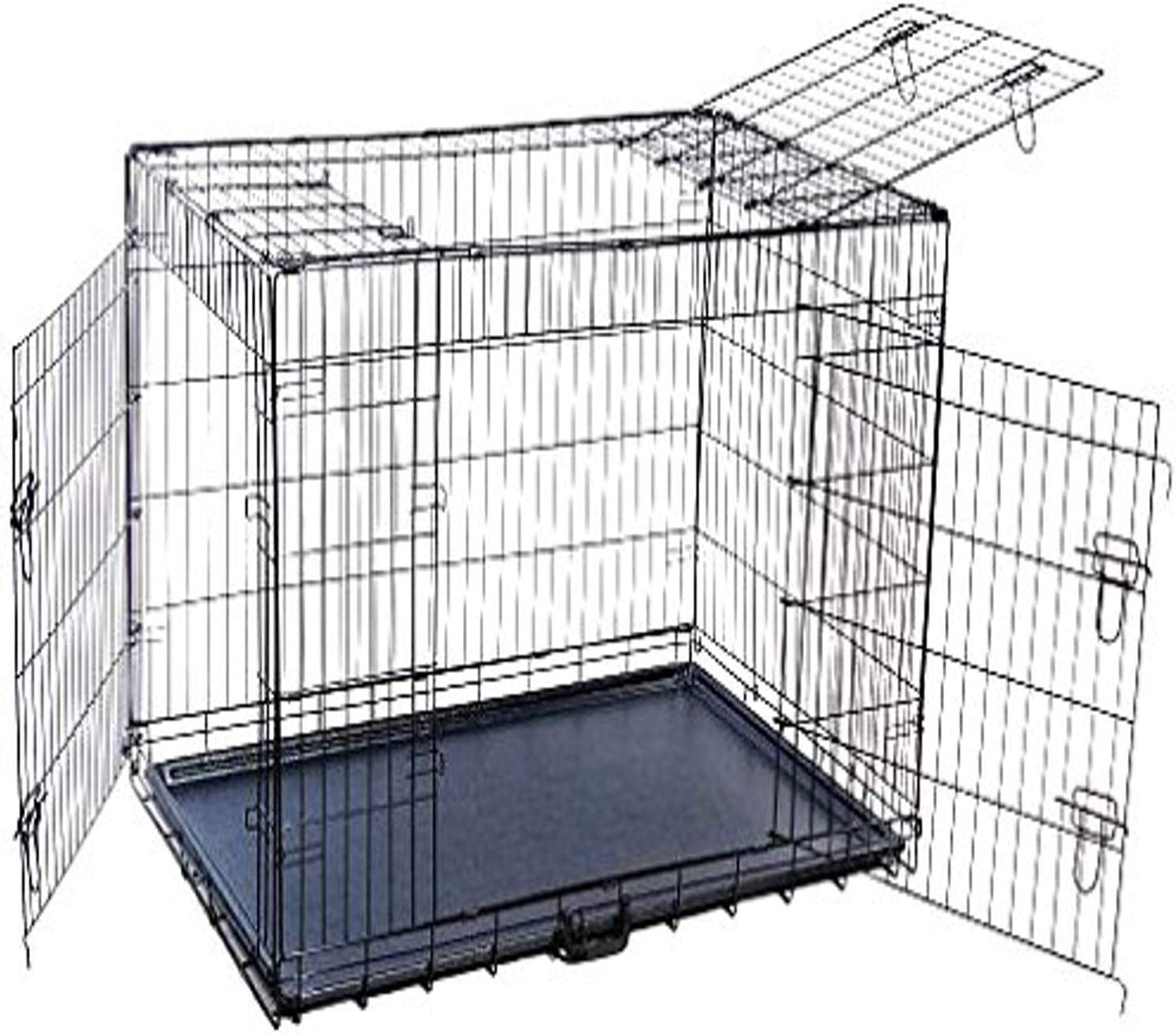 Black XX-Large MDOG2 48 by 30 by 33-Inch Folding Triple-Door Metal Dog Crate with Divider Panel