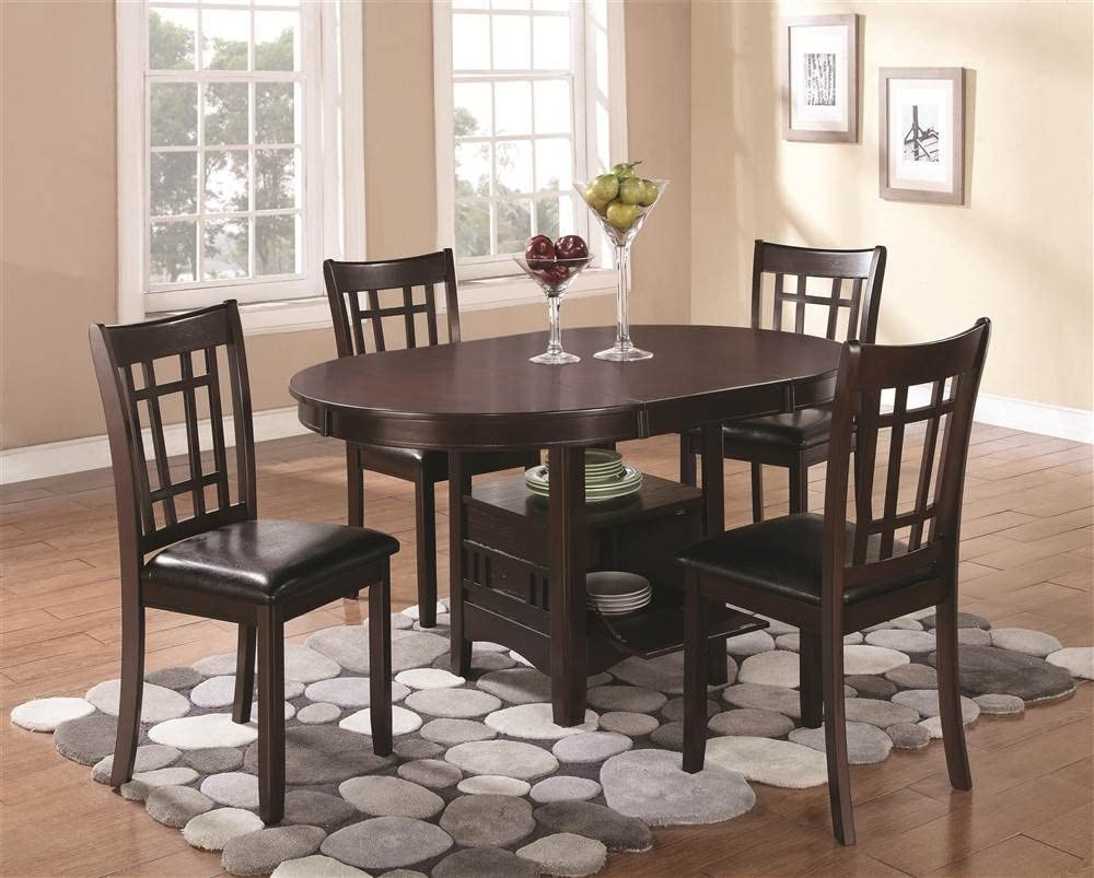 Lavon Dining Side Chairs with Padded Vinyl Seat Espresso and Black Set of 2