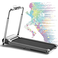 Wekeep 1.8HP Folding Portable Manual Compact Treadmill with LED Display for Home Office Gym Use (Gray)