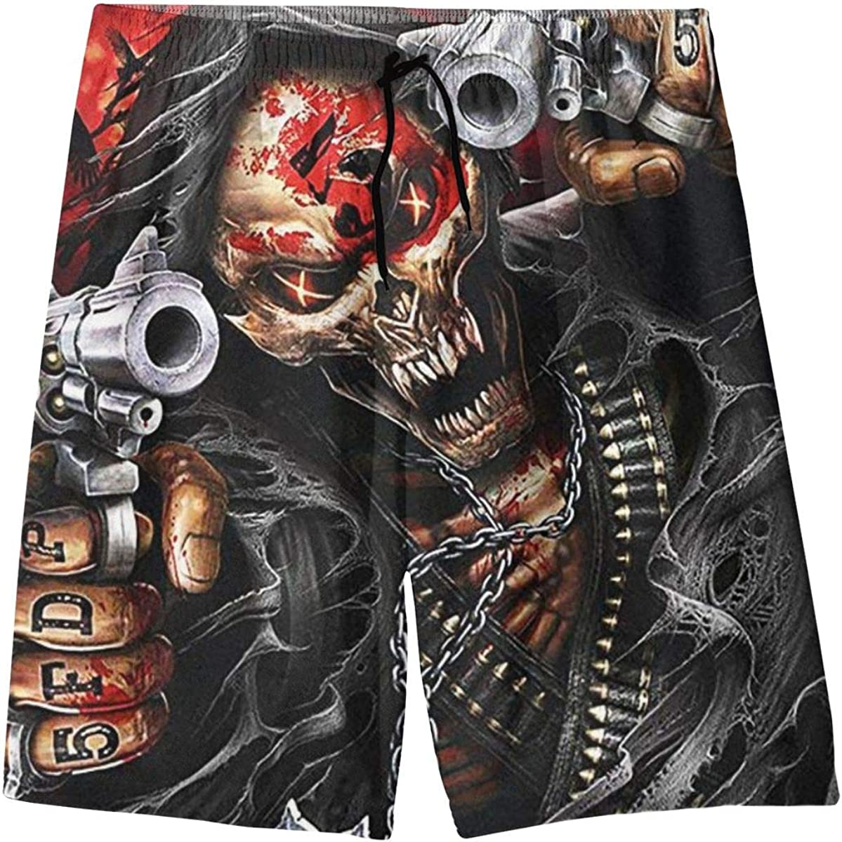 Five Finger Death Punch Mens Swim Trunks Beach Board Shorts with Pockets Cool Novelty Bathing Suits for Teen Boys White