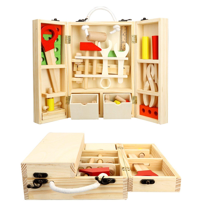 Lewo Holz Werkzeugkasten und Zubehör Set Pretend Play Kit Pädagogische Bau Spielzeug für Kinder Amazon Spielzeug
