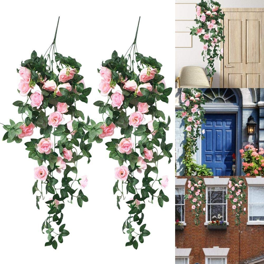 Konren 2PC 35.4 inch Artificial Hanging Rose, Silk Artificial Plants Fake Flowers Hanging Plant Wall Home Balcony Basket for Home Decor Indoor/Outdoor Wedding Christmas Decorations