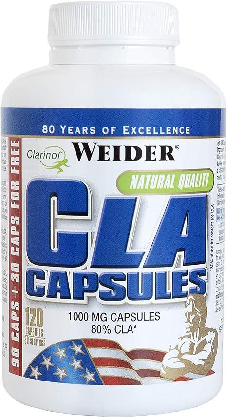 Weider CLA Caps 120 caps. Reduce la grasa corporal. Dieta keto. Ayuda a la perdida de peso.