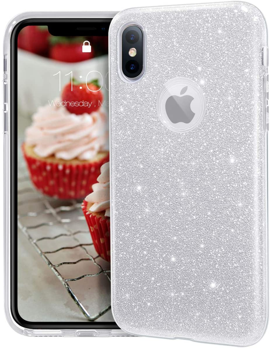 """MATEPROX iPhone Xs case,iPhone X Glitter Bling Sparkle Cute Girls Women Protective Case for iPhone Xs/X 5.8"""" -Silver"""