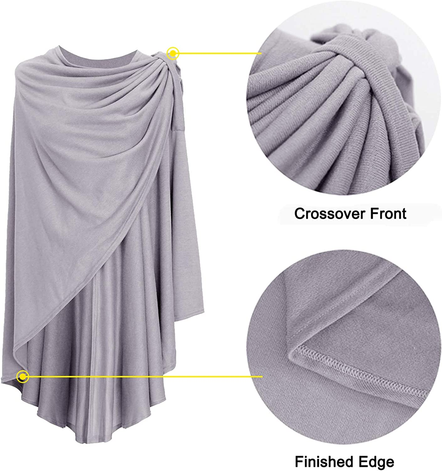 DiaryLook Cashmere Knitted Shawls and Wraps for Laides,Long Cape Ponchos for Women Solid,Soft Button Lightweight Wrap Scarf Cardigan for Spring,Summer,Gift for Women