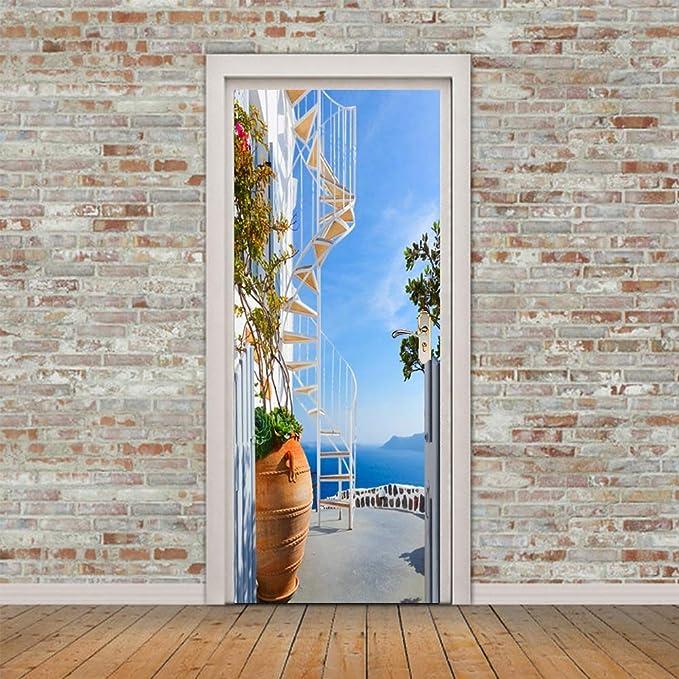 Etiqueta De La Puerta,3D Adhesivos Para Puertas Interiores Unión Escalera De Caracol Autoadhesiva Murales Para Puertas Puertas Renovación De Arte De Pared Pegatinas Para Salón Dormitorio-M: Amazon.es: Hogar