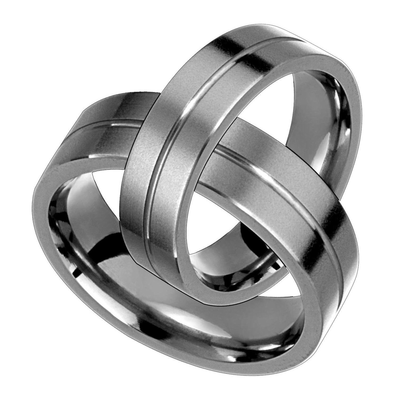 Alain Raphael 6 Millimeters Wide Titanium Ring Matte Finish Single Groove Wedding Band Set Unisex