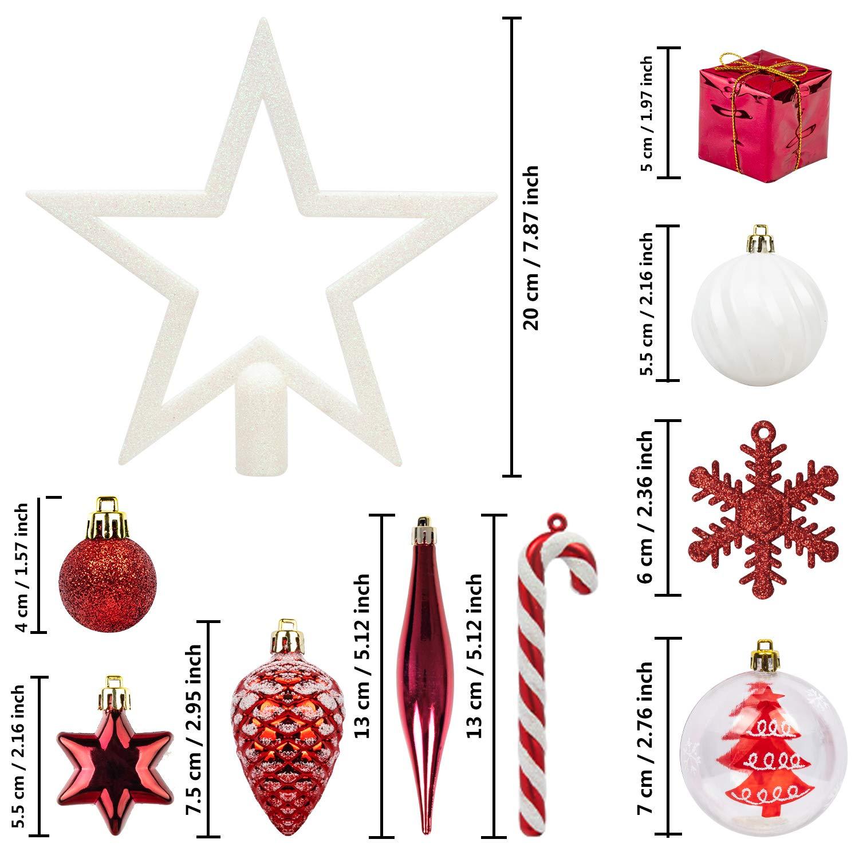 blanco y negro Conjunto de adornos de /árbol de Navidad ITART 127ct que incluye una mini caja de regalo de pi/ña de estrellas de copo de nieve y una guirnalda final de cuentas