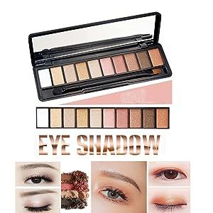 ealine impermeable maquillaje de ojos paleta de sombra de ojos Shimmer – 10 Populor ojo color mate y Pearl Set para Naked Nude o en la etapa color maquillaje ahumado Natural libre de sombra de ojos sombra de ojos cepillo