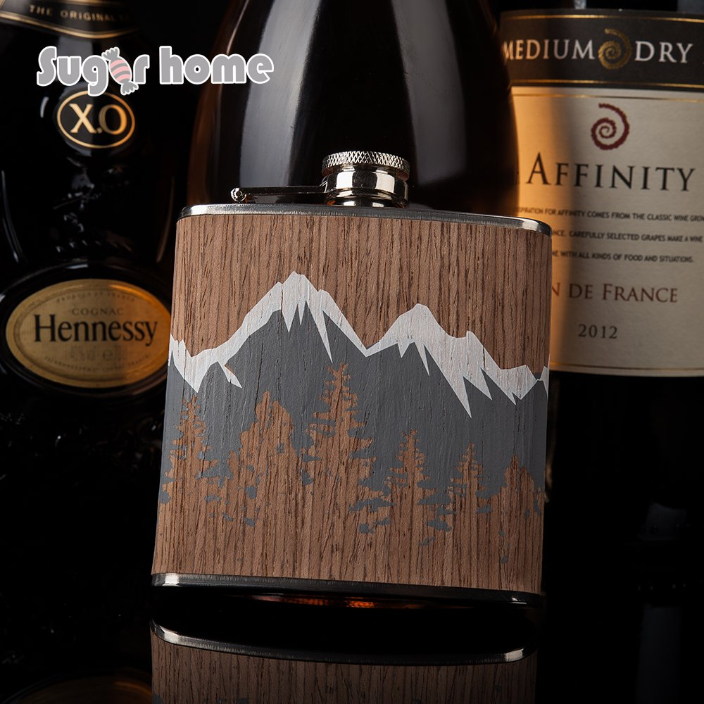 Mealivos Stainless Steel Hip Flask Pocket Bottle for Whiskey Liquor Wine Alcohol /Cap,with Case (wood)