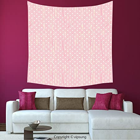 House Decor Square Tapestry Grunge Romantic 60S 50S Retro Pop Art Inspired  Polka Dots On