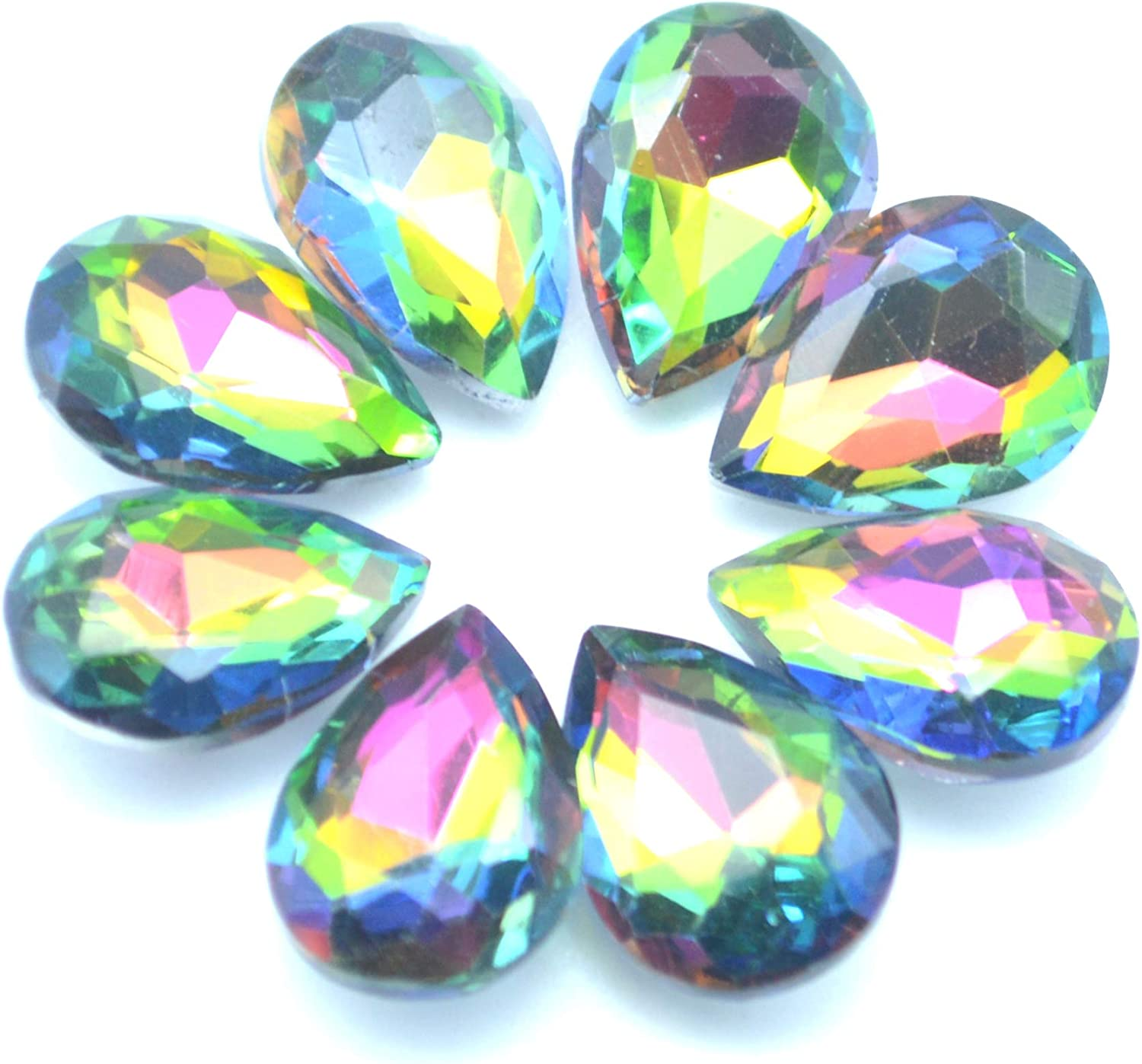 80pcs Colorful Teardrop Crystal Bead Jewelry Making DIY Faceted Glass Beads