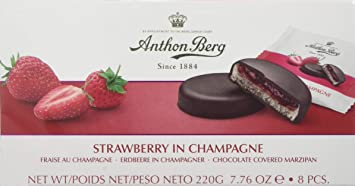 mazapán de pasteles con relleno y revestimiento de chocolate Anton Berg – Fresa con champán (