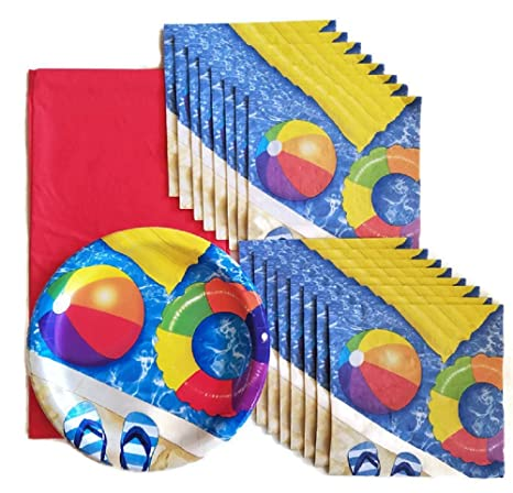 amazon com beach ball pool party paper plate napkin and tablecloth