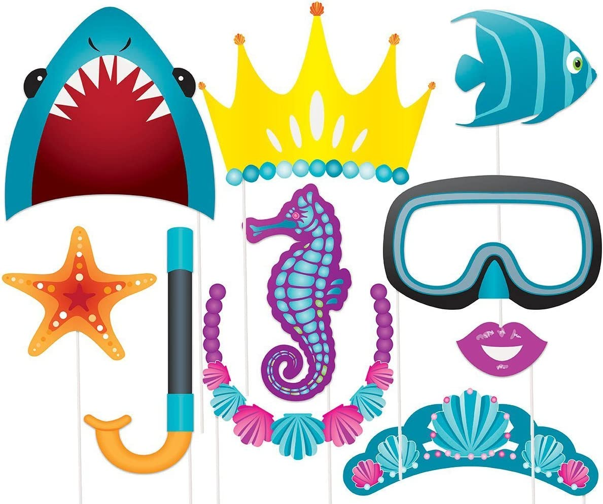 Mermaid Sea Horse Photo Props Booth Birthday Party Selfie Accessories Tool  26pc