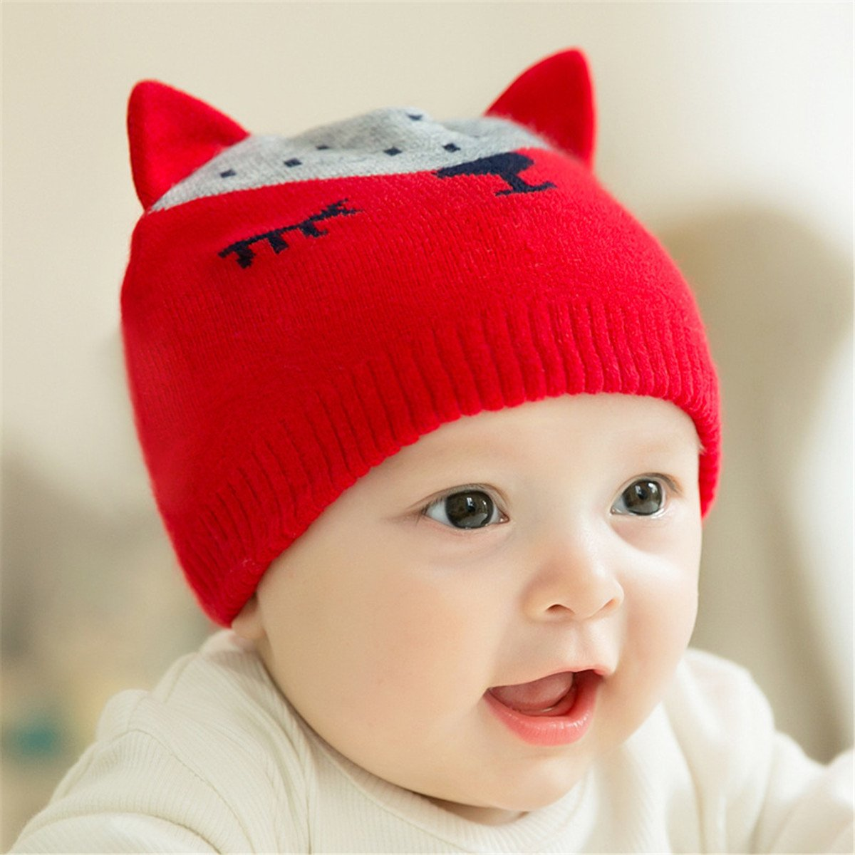 Fighting to Achieve Winter Warm Woolen Yarn Knitted Fox Printed Toddler Beanie Cap Hats for Baby Boys /& Girls