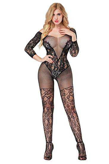 b9a877411 eveshare Women Sexy Bodystocking Open Crotch Crotchless Floral Deep V  Bodysuit Teddy Babydoll Lingerie for Sex