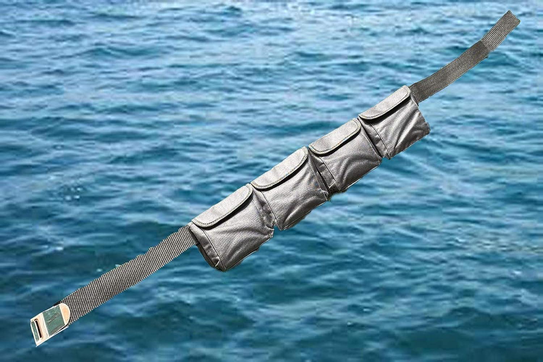 Black 5 Pocket AKM-Scuba Diving Pocket Weight Belt Medium