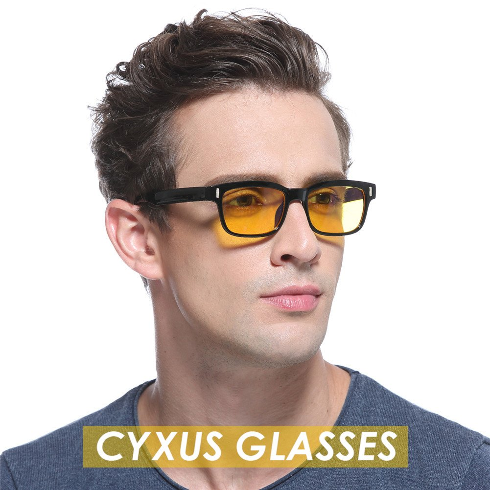 6728410e1e1 Cyxus Blue Light Blocking Computer Glasses for Anti Eye Strain UV  Transparent Lens Black Frame Reading Glass Unisex (Men Women) (yellow lens  black frame) ...