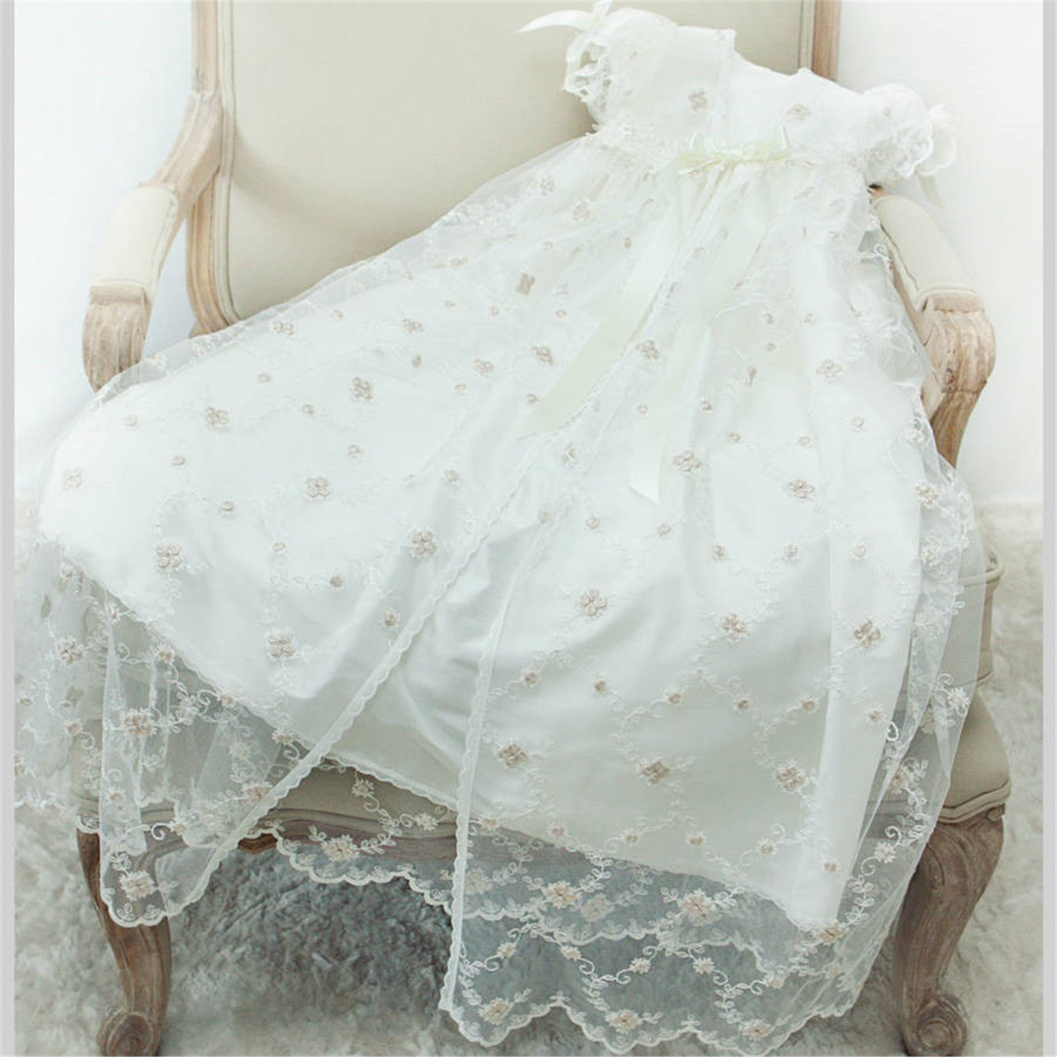 Newdeve Infant Toddler Baby-girls Lace Ivory Christening Gowns Long