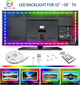 LED Strip Lights 6.56ft, RGB TV LED Backlight 4096 DIY Colors Changing Rope Lights 30mins Timing Off Light Strip 5V USD Powered LED Tape Light Kits for 32-58in TV Monitor Bedroom Desk Ambient Light