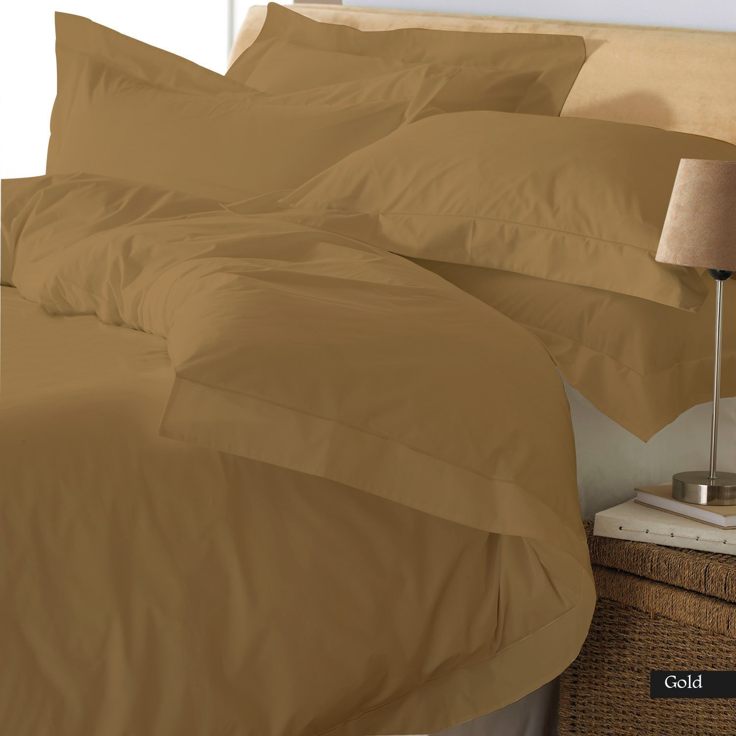 Reliable Bedding Ultra Soft Luxury Premium Organic cotton Solid,3-Piece Duvet Set (1 Duvet Cover & 2 Pillow Shams) 600 Thread Count, Made In India - Italian Finish !!!(CAL-King/Gold)