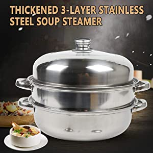 3-layers 28cm Dia Steamer Cooking Pot Set Stainless Steel With Glass Lid